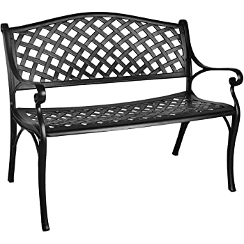 GIODIR Outdoor Patio Garden Bench All-Weather Cast Aluminum Loveseats Park Yard Furniture Porch Chair Work Entryway Decor w/Checkered Design  (Black)
