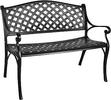 GIODIR Outdoor PatioGardenBenchAll-WeatherCast AluminumLoveseats Park Yard Furniture Porch ChairWork EntrywayDecor w/C
