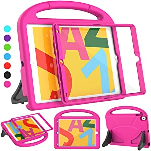 SUPLIK iPad 10.2 Case, iPad 9th/8th/7th Generation Case for Kids, Durable Shockproof Handle Stand Protective Cover with Screen Protector for Apple iPad 10.2 inch 2021/2020/2019 Model, Pink