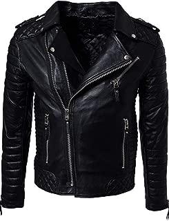brandMe Men's Genuine Leather Pure Lambskin Biker Jacket MM425