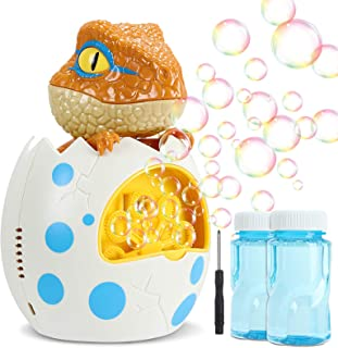 Bubble Machine, Effect Machines, Dinosaur egg Bubble Blower, Automatic Bubble Maker for for Parties, Weddings, Stages, 1000+ Bubbles per Minute, Two Bottles of Bubble Solution & Screwdriver Included