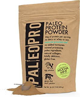 PaleoPro Protein Powder, Gluten Free, Dairy Free, Whey Free, Soy Free, No Added Hormones, Pastured Grass-fed Beef, Minimally Processed Paleo Ingredients, 1lb/454g, About 15 Servings, Mocha Mint