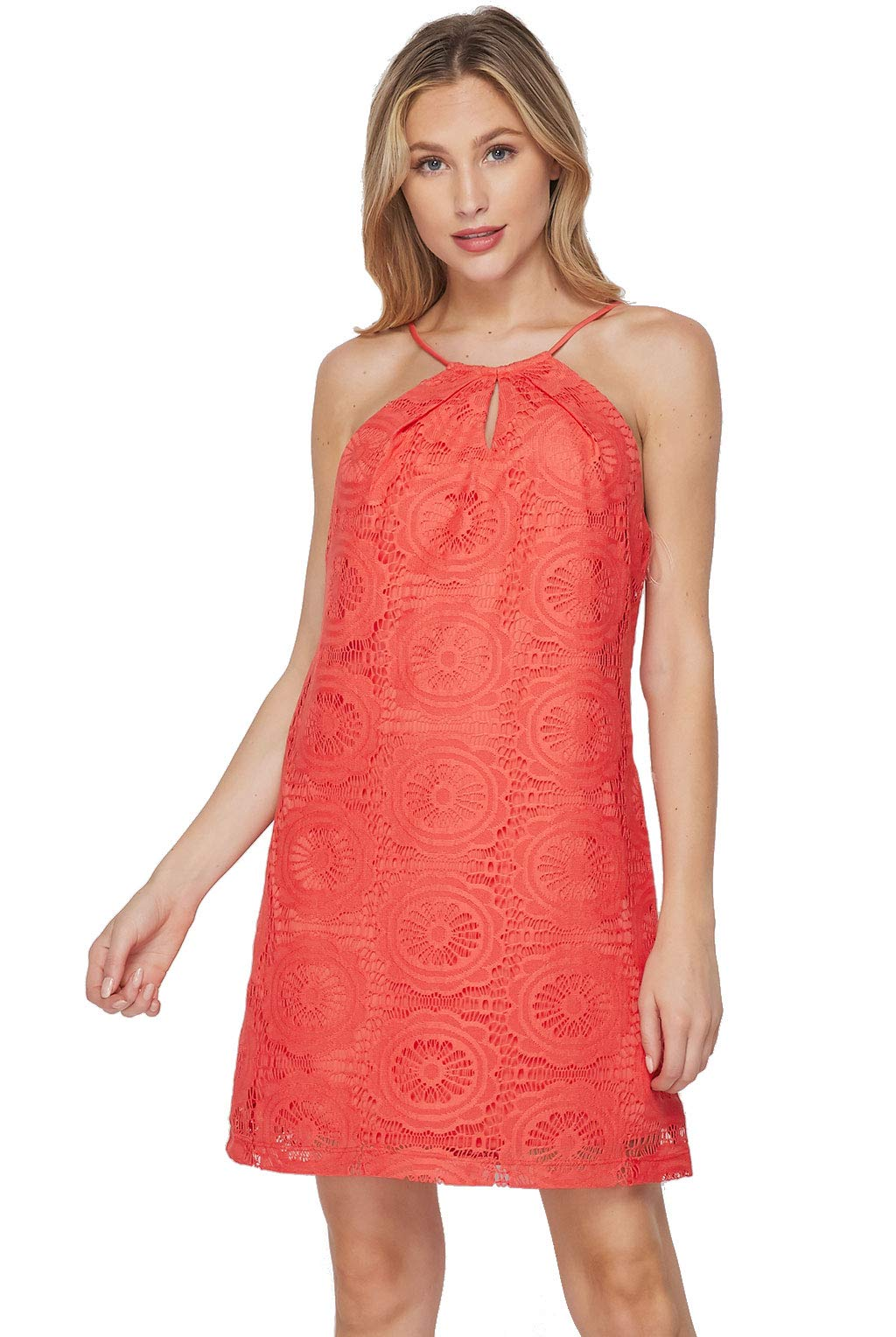 Available at Amazon: Teeze Me Women's Boho Halter Crochet Lace Shift Spring and Summer Shift Dress