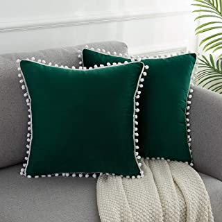 WLNUI Soft Velvet Forest Green Pillow Covers Decorative Cute Pom Poms Throw Pillow Covers Square Cushion Case for Sofa Couch Home Decor 18x18 Inches