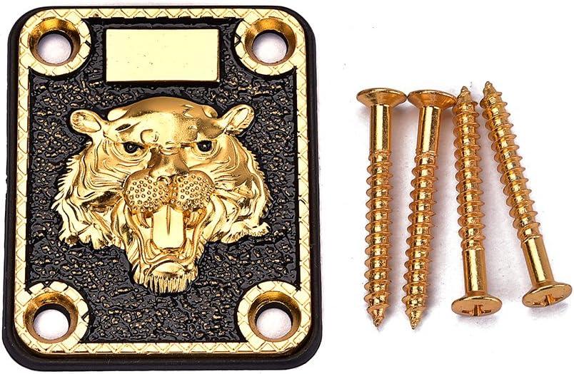 Alnicov Placa de mástil de guitarra, placa de mástil dorada y negra, patrón de cabeza de animal grabado para guitarra eléctrica