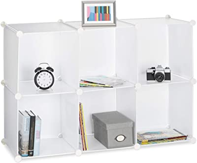 Relaxdays Étagère rangement 6 casiers plastique modulable DIY assemblage plug in bibliothèque HxlxP: 65 x 96 x 32 cm, blanc