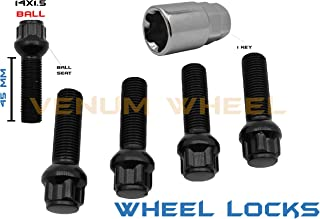 5 Pc Black Wheel Locks Lug Bolts | 45 MM Shank | M14x1.5 | Ball Seat | For Factory Wheels | Compatible With 1992-1999 Mercedes Benz W140 Chasis S320 S400 S420 S500 S600