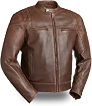 First Mfg Co Men's Carbon Leather Jacket (Brown, Large)