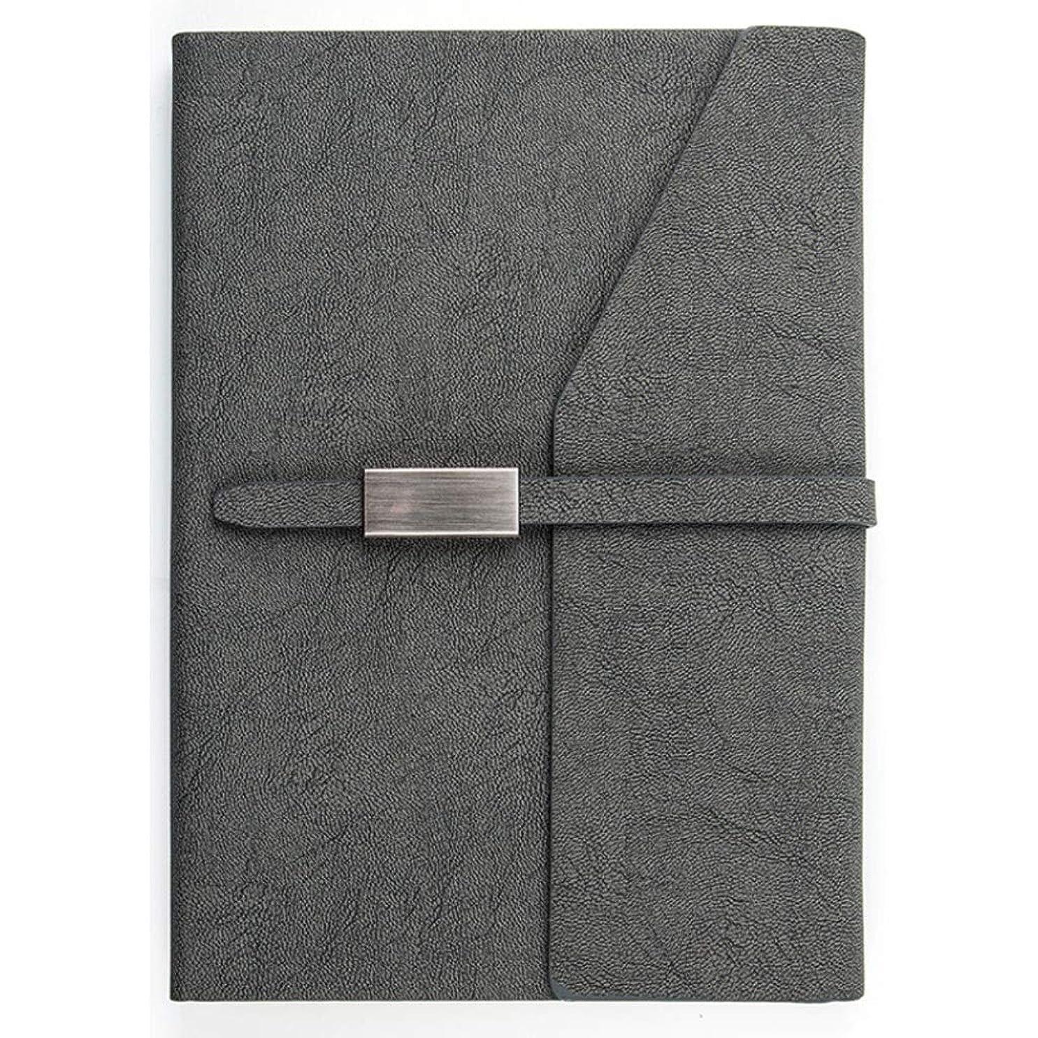 孤児対人によるとレザーマガジン執筆ノート - ビジネスノート文房具A5バックルノートブックノートブック多機能パッケージ、サイン入りペンを含む (Color : Gray)