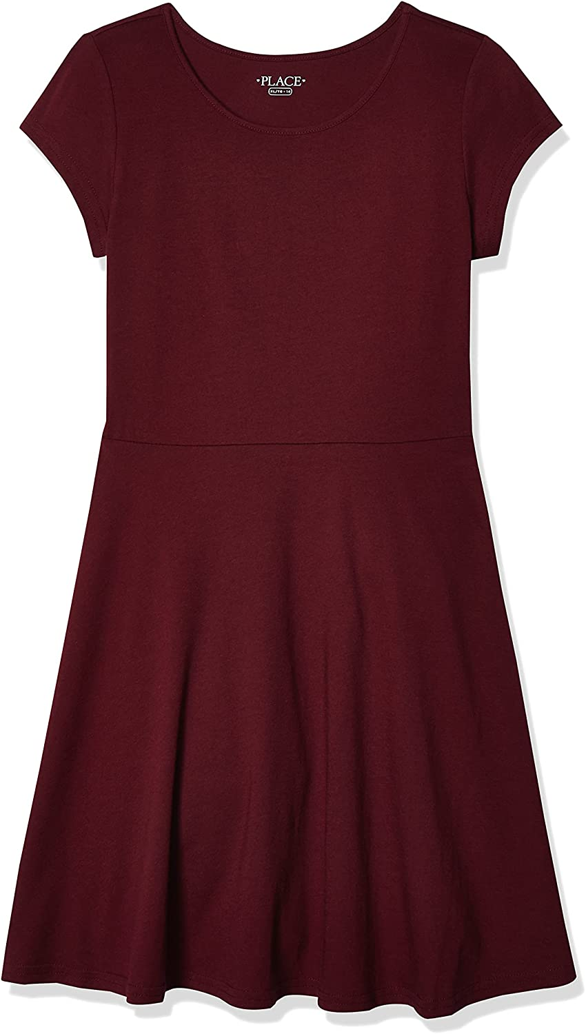 The Children's Place Girls' Big Short Sleeve Solid Knit Pleat Dress