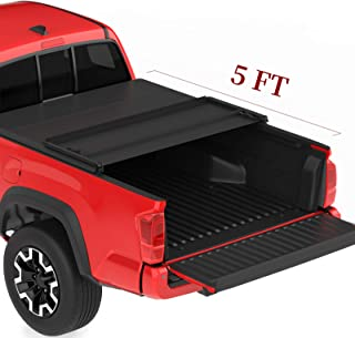 oEdRo Upgraded Soft Tri-fold Truck Bed Tonneau Cover On Top Compatible for 2005-2015 Toyota Tacoma with 5ft Bed, Fleetside