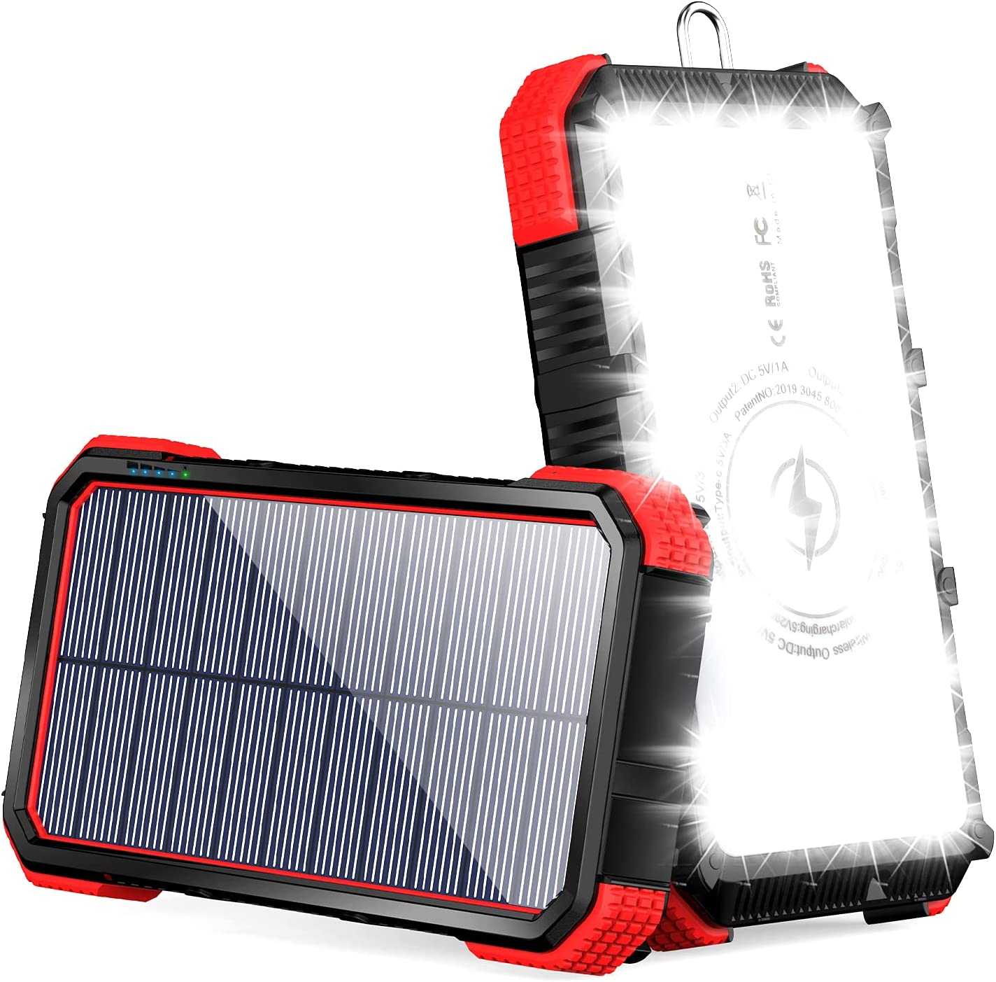 Solar Charger 20000mAh Qi Portable LEDs Emergency Max 73% 55% OFF OFF 36 Ex