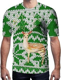 Camisa de Hombre Manga Corta con Estampado Navideño Tops Modernas Camisetas de Primavera Verano Slim Fit Deporte Tallas Gr...