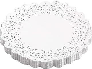 مفارش ورقية من الدانتيل مقاس 21.59 سم تستخدم لمرة واحدة لتزيين أدوات المائدة الورقية المستديرة للتزيين لكعكة الحلوى 150 قط...