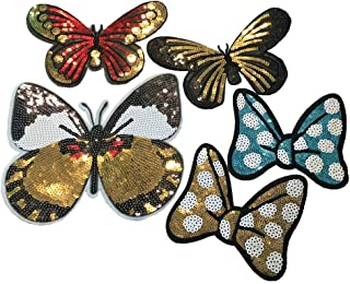 5pcs Sequin Embroidered Butterfly Patch Clothing Vintage Decoration Applique (Different Size&Style)