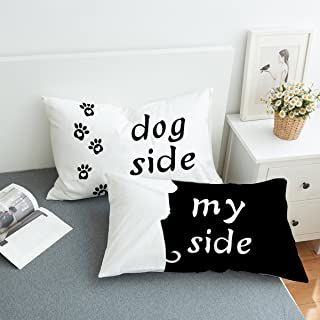 Koongso Black and White Dog Side My Side Bedding Pillowcase Zipper Closure for Home D¨¦cor Standard/King Size