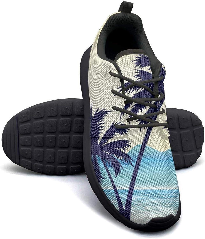 Gjsonmv Birds Beach Palm tree-01 mesh Lightweight shoes for Women Dad Sports Walking Sneakers shoes