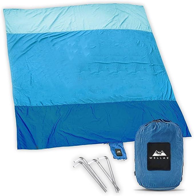 WELLAX Beach Blanket Waterproof Sandproof for 4 - 7 Adults, Oversized Lightweight Corner Pockets Picnic Mat 9