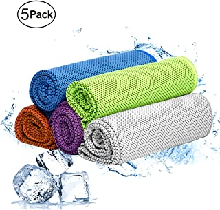 WAEKIYTL Cooling Towel 5 Pack Microfiber Towel Fast Drying - Super Absorbent Ice Towel- Ultra Compact Cooling Towel for Sports, Fitness, Gym, Yoga, Running, Workout, Pilates, Travel, Camping