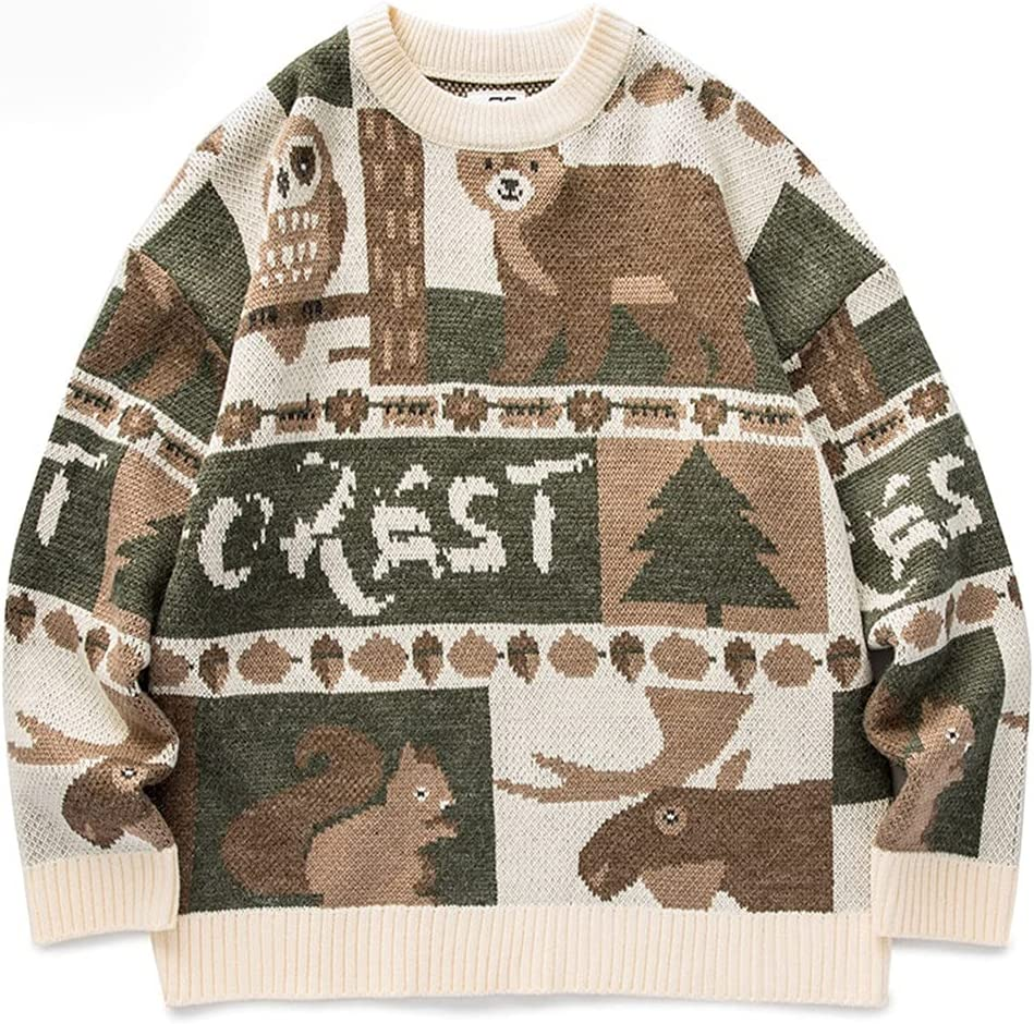 AAKKY Clothes Men's Oversized Harajuku Ugly Sweater Anime Hip Hop Punk Pullover Forest Animal (Color : B, Size : XL Code)