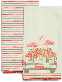 Deborah Connolly Embroidered Pink Flamingo Kitchen Tea Towels, 100% Cotton