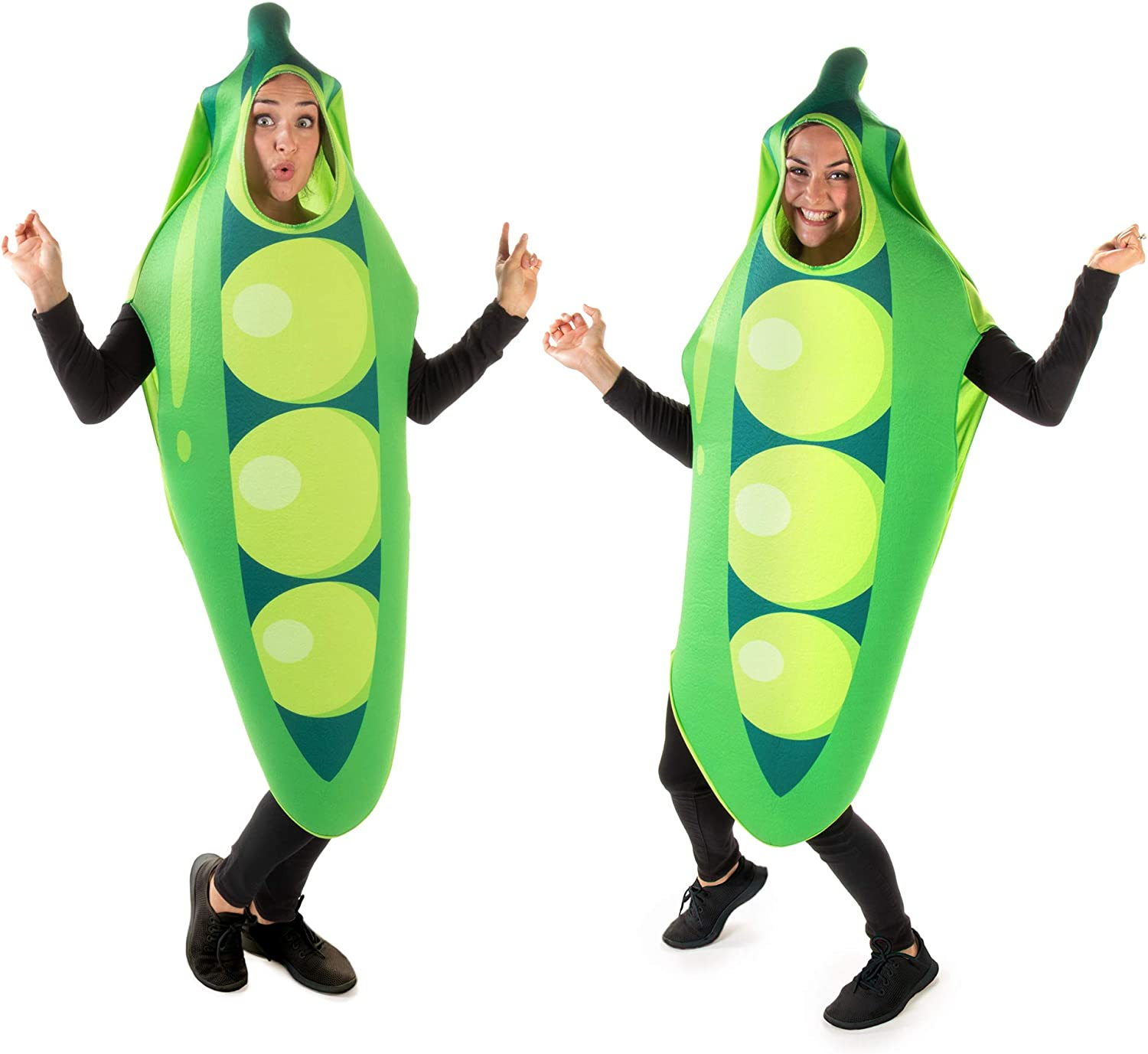 Two Peas in a Pod Halloween Couples Costume - Cute Funny Food Adult Bodysuit