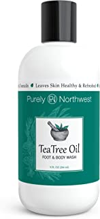 Antifungal Tea Tree Oil Body Wash, Vegan, Helps Athletes Foot, Ringworm, Toenail Fungus, Jock Itch, Acne,Yeast infections, Eczema, Body Odor, Soothes Itching,Made in the USA By Purely Northwest 9oz