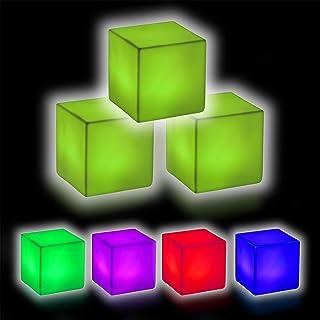 Relaxdays Set de tres lámparas LED, Mesilla de noche, Cambio de color, Sin cable, Cubos, Decoración, 6,5x6,5x6,5 cm, Blanco