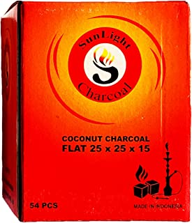 Sunlight Charcoal Coconut Coals Coconut Charcoal Tablets for Shisha/Incense Natural, No Odor, No Bad Taste Easy To Light Coconut Coals 2.5 x 2.5 x 1.5 Centimeter 108/54/ 27 Pack (54)