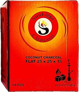 Sunlight Charcoal Coconut Coals Coconut Charcoal Tablets for Shisha/Incense  Natural, No Odor, No Bad Taste  Easy To Light Coconut Coals  2.5 x 2.5 x 1.5 Centimeter  108/54/ 27 Pack (54)