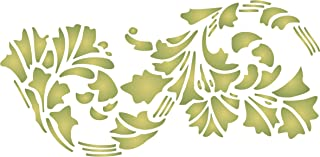 "Leaf Stencil - (size 10.5""w x 5""h) Reusable Wall Stencils for Painting - Best Quality Wall Border Flower Art Nouveau Stencil Ideas - Use on Walls, Floors, Fabrics, Glass, Wood, Terracotta, and More…"