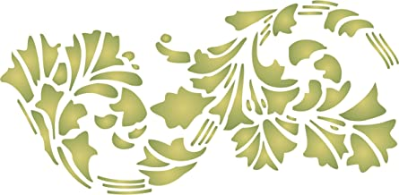 """Leaf Stencil - (size 10.5""""w x 5""""h) Reusable Wall Stencils for Painting - Best Quality Wall Border Flower Art Nouveau Stencil Ideas - Use on Walls, Floors, Fabrics, Glass, Wood, Terracotta, and More…"""