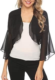 Women Short Ruffle Sleeve Sheer Bolero Shrugs Chiffon Cardigans for Dresses