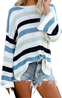 Snowmolle Women's Long Sleeve Crew Neck Striped Color Block Casual Loose Knitted Pullover Sweater Tops 2019 New