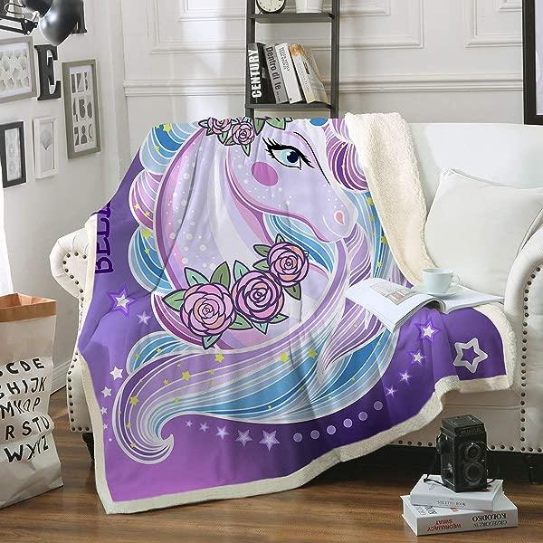 Sleepwish Unicorn Sherpa Fleece Blanket Purple Aqua Pony Throw Blanket Magical Horse Print Plush Blanket For Sofa Clair Bed Office Twin 60 X80
