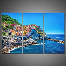 3 Pieces Modern Canvas Painting Wall Art The Picture for Home Decoration Cityscape Traditional Port Mediterranean Sea Cinq...