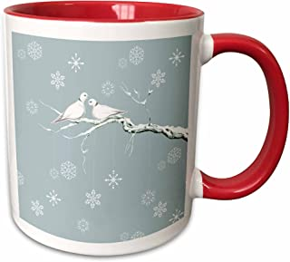 3dRose 216708_5 Two Turtle Doves And Pretty Snowflake Ornaments At Christmas Mug, 11 oz, Red