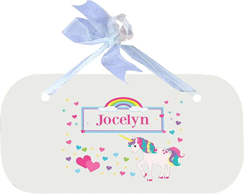Personalized Unicorn Nursery Door Hanger Plaque With Blue Ribbon