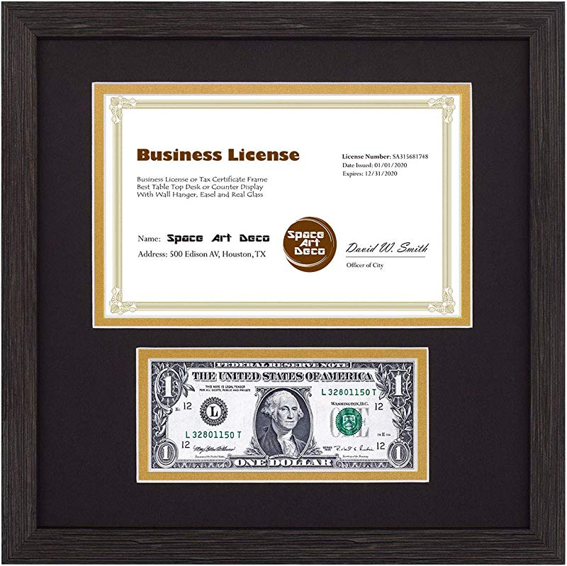 Space Art Deco 11 5x11 5 Dark Brown Textured Frame Black Gold Double Mat With Two Openings Sawtooth Hangers Tempered Glass For Business License And U S Dollar Bills