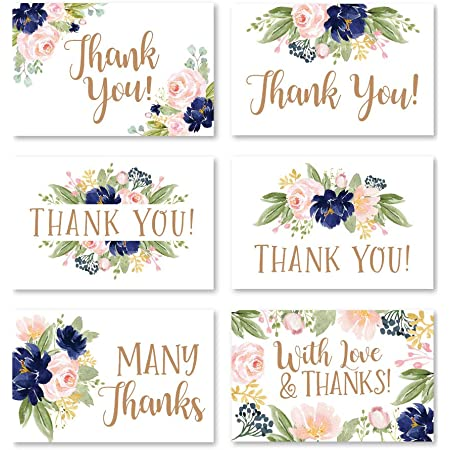 Floral Thank You Cards \u2022 Blue Flat or Folded \u2022 Customized Thank You Note Envelopes Included Blush /& Burgundy Bouquet Thank You Cards