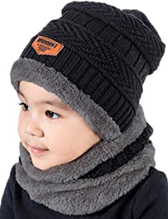 e4a986d64c4 T WILKER 2Pcs Kids Winter Knitted Hats+Scarf Set Warm Fleece Lining Cap for  5