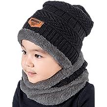 e0892824a0c T-wilker 2Pcs Kids Winter Knitted Hats+Scarf Set Warm Fleece Lining Cap for