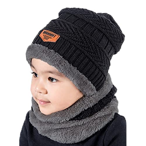 04d197efaae T WILKER 2Pcs Kids Winter Knitted Hats+Scarf Set Warm Fleece Lining Cap for  5