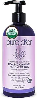 PURA D'OR Organic Aloe Vera Gel, Jasmine Scent (16oz) USDA Certified - Deeply Hydrating, Moisturizing Skin & Hair - Sunburn, Bug Bites, Rashes, Small Cuts, Eczema Relief (Packaging may vary)
