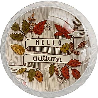 Boutons De Tiroir Verre Cristal Rond Poignées d'armoires tirer 4 pièces,Bonjour automne