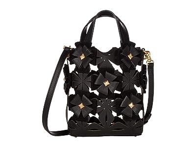 ZAC Zac Posen Floral Love Small North/South Shopper (Black) Handbags