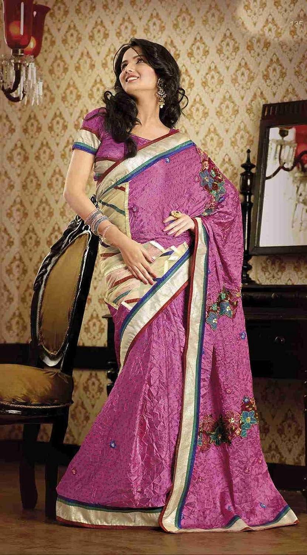 Daksha Light Pink Faux Crepe Luxury Party Wear Sari saree