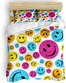 Cute Funny Emoji Cartoon Bedding Sets Bed Sheet Set, Like Smiley Faces 3 Piece Duvet Cover Sets - Includes Quilt Cover, Pillow Cases for Childrens Kids Teens Adults Queen
