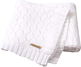 mimixiong Toddler Blankets Knitted Cellular Baby Blankets for Boys and Girls Size 40 x30 Inch White