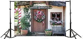 Laeacco 10x6.5ft Vinyl Backdrop Photography Background Santa's Workshop Christmas Wreath Green Vine Leaves Plant Pots Front Door Candy Cane Childhood Memory Children Adult Photo Backdrop Studio Props
